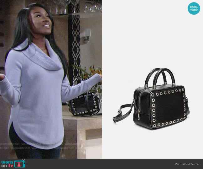 Zara Square Crossbody Bag with Studs worn by Ana Hamilton (Loren Lott) on The Young & the Restless