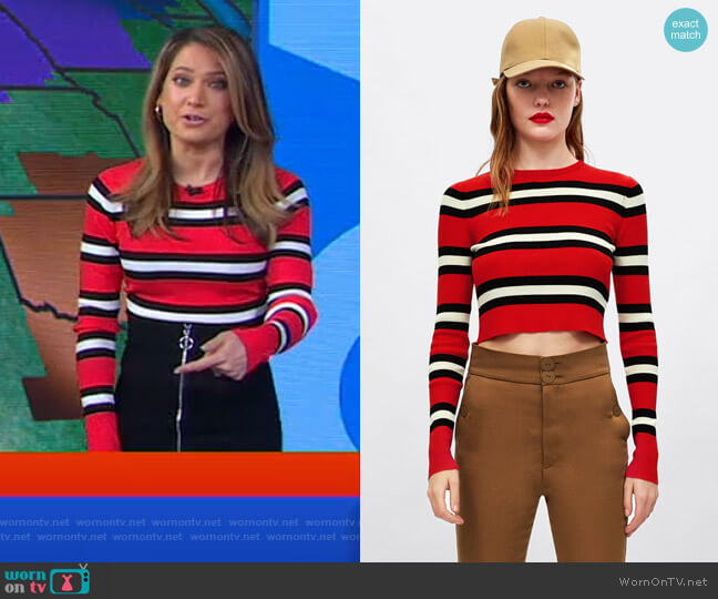 Striped Cropped Sweater by Zara worn by Ginger Zee  on Good Morning America