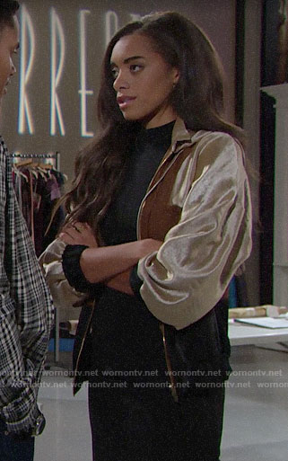 Zoe's colorblock hooded jacket on The Bold and the Beautiful