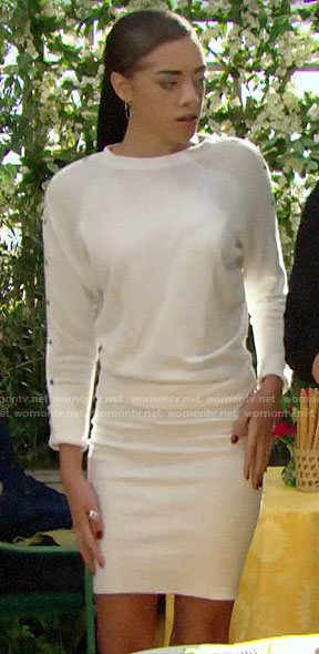 Zoe's white sweater dress with snap button sleeves on The Bold and the Beautiful