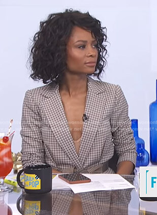 Zuri's checked blazer on E! News Daily Pop