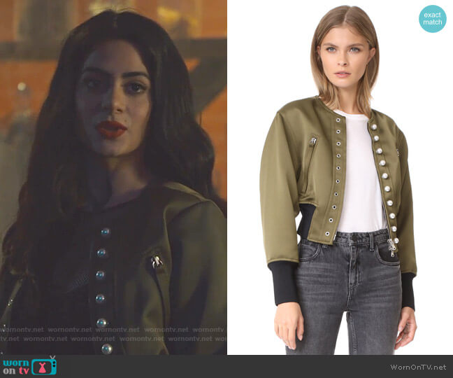 Pearly Bomber Jacket by 3.1 Phillip Lim worn by Isabelle Lightwood (Emeraude Toubia ) on Shadowhunters
