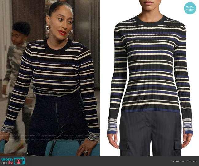 3.1 Phillip Lim Multi Striped Silk/Cotton Pullover Sweater worn by Rainbow Johnson (Tracee Ellis Ross) on Blackish