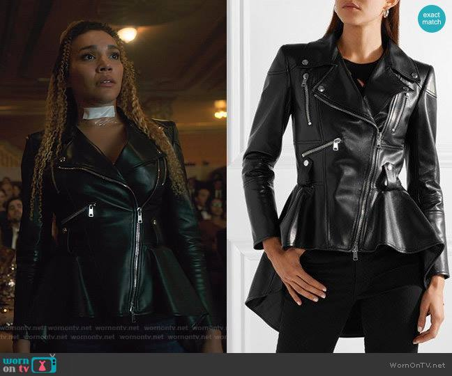 Leather Peplum Jacket by Alexander McQueen worn by Allison Hargreeves (Emmy Raver-Lampman) on The Umbrella Academy