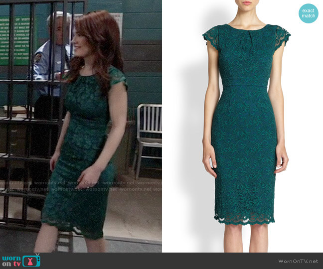 ABS Lace Cap Sleeve Dress worn by Elizabeth Webber (Rebecca Herbst) on General Hospital