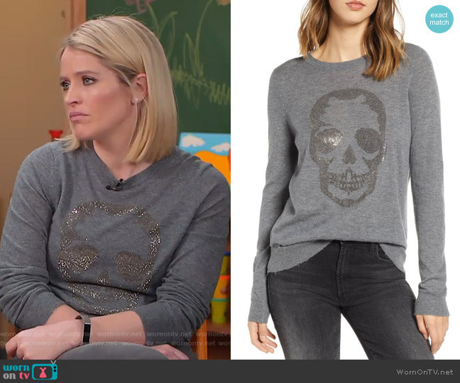 Miss Bis Skull Cashmere Tee by Zadig & Voltaire worn by Sara Haines  on Good Morning America