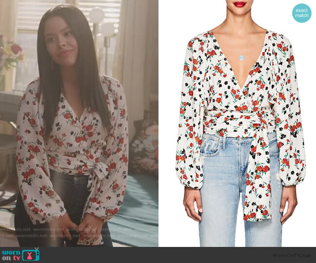 Carla Floral Blouse by A.L.C. worn by Mariana Foster (Cierra Ramirez) on Good Trouble