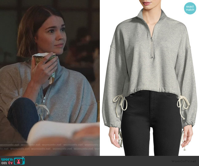 Gallagher Half-Zip Pullover Sweatshirt by A.L.C. worn by Callie Foster (Maia Mitchell) on Good Trouble