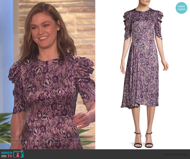 Una Floral A-Line Dress by Amur worn by Julia Stiles on The Talk
