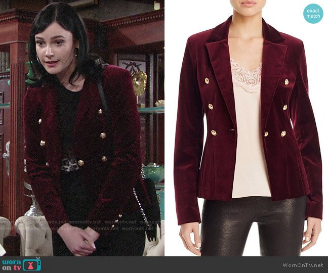 Aqua x Maddie & Tae Velvet Gold Button Blazer worn by Tessa Porter (Cait Fairbanks) on The Young & the Restless