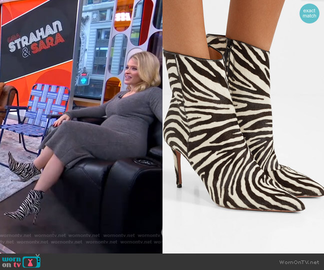 Alma Ankle Boots by Aquazzura worn by Sara Haines  on Good Morning America