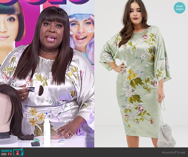 Kimono Midi Pencil Dress in Satin Floral Embroidery by Asos Curve worn by Loni Love  on The Real