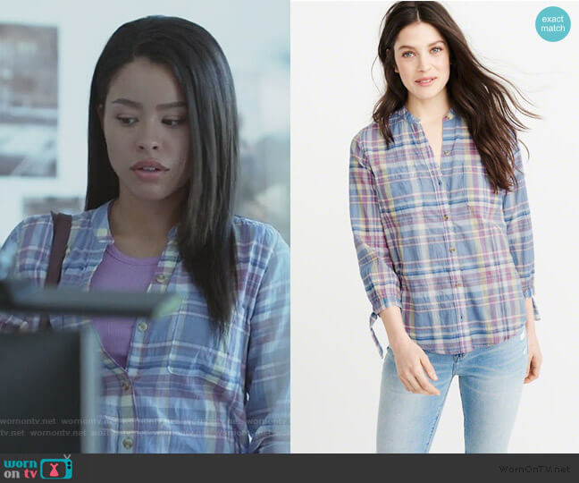 Tie Sleeve Button-up Shirt by Abercrombie & Fitch worn by Mariana Foster (Cierra Ramirez) on Good Trouble
