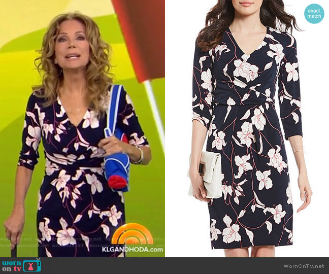 Floral Print Crepe Knit Sheath Dress by Adrianna Papell worn by Kathie Lee Gifford  on Today