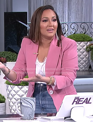 Adrienne's pink single breasted blazer on The Real