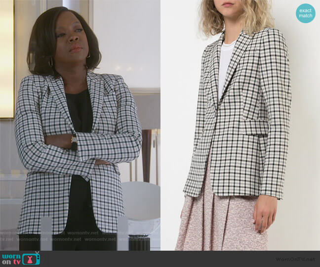 Check Print Blazer by Akris Punto worn by Annalise Keating (Viola Davis) on HTGAWM