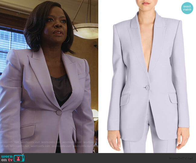 Boxy Wool Blend Single-Button Jacket by Alexander McQueen worn by Annalise Keating (Viola Davis) on HTGAWM