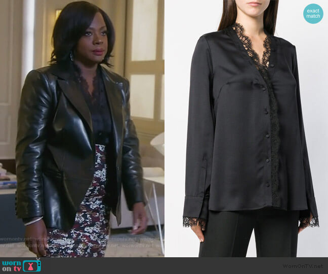 Lace Trim Blouse by Alexander McQueen worn by Annalise Keating (Viola Davis) on HTGAWM
