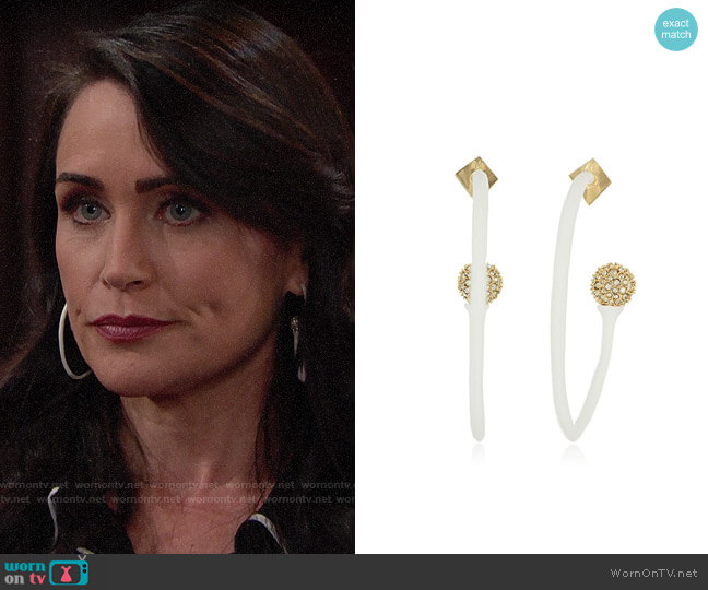 Alexis Bittar Pave Detail Hoop Earrings worn by Quinn Fuller (Rena Sofer) on The Bold & the Beautiful