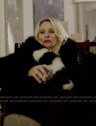 Alexi's black and white striped collar fur coat on Dynasty