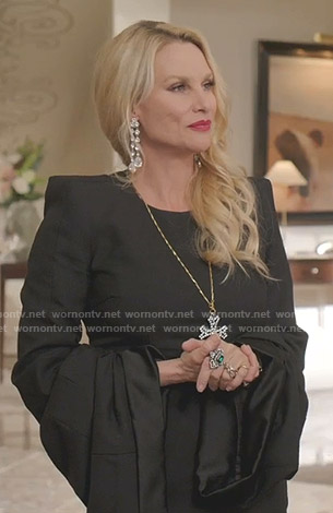 Alexis's black draped sleeve mini dress on Dynasty