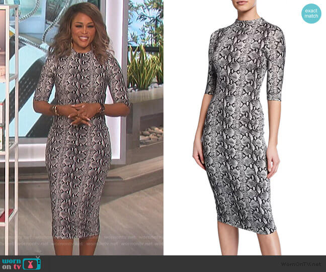 Delora Snake-Print Mock-Neck Elbow-Sleeve Fitted Dress by Alice + Olivia worn by Eve  on The Talk