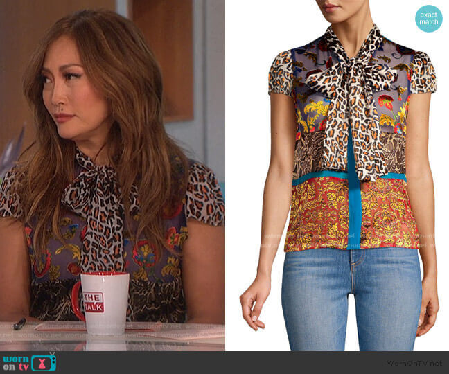 Jeannie Bow-Collar Blouse by Alice + Olivia worn by Carrie Inaba  on The Talk