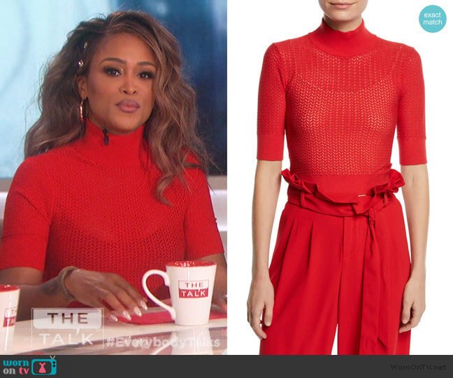 Lanie Pointelle Pullover by Alice + Olivia worn by Eve  on The Talk