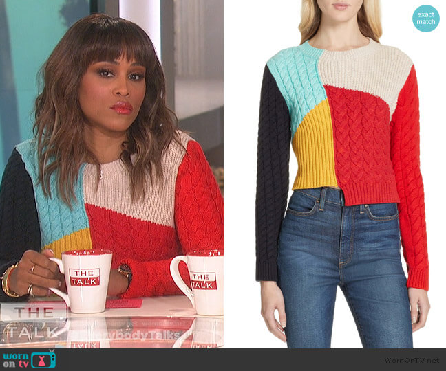 Lebell Colorblock Sweater by Alice + Olivia worn by Eve  on The Talk