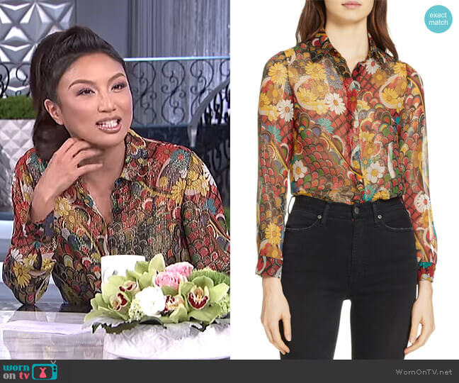 Willa Shirt by Alice + Olivia worn by Jeannie Mai  on The Real