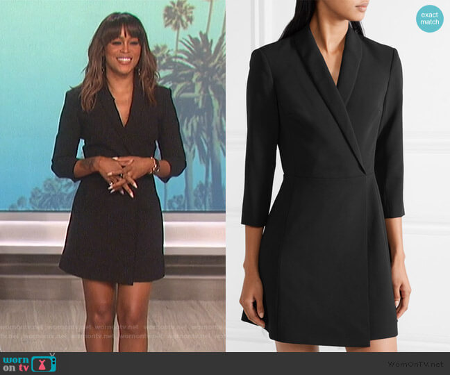 Brenda wrap-effect cady mini dress by Alice + Olivia worn by Eve  on The Talk