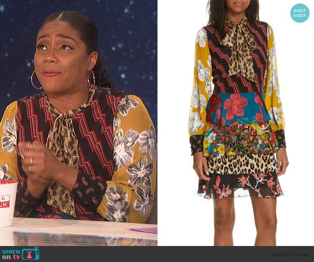 Dasha Ruffle Tiered Dress by Alice + Olivia worn by Tiffany Haddish on The Talk