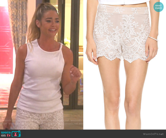 High Waisted Lace Short by Alice + Olivia worn by Denise Richards (Denise Richards) on The Real Housewives of Beverly Hills