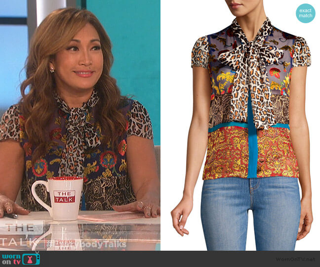 Jeannie Bow-Collar Blouse by Alice + Olivia worn by Carrie Inaba (Carrie Inaba) on The Talk