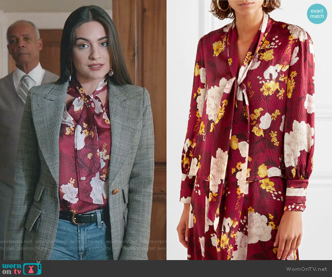 Crogan Blouse by Alice + Olivia worn by Cristal Jennings (Daniella Alonso) on Dynasty