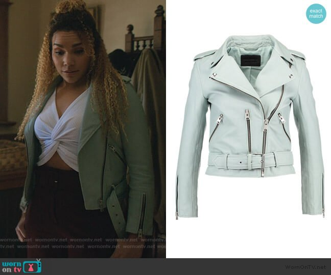 Balfern Leather Biker Jacket by All Saints worn by Allison Hargreeves (Emmy Raver-Lampman) on The Umbrella Academy