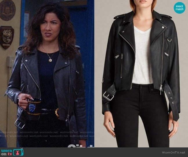All Saints Gidley Leather Biker Jacket worn by Rosa Diaz (Stephanie Beatriz) on Brooklyn Nine-Nine