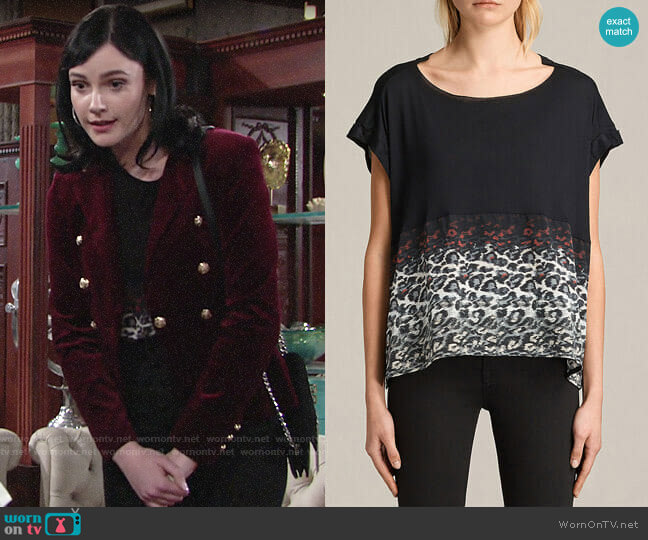 All Saints Juba Pina Tee worn by Tessa Porter (Cait Fairbanks) on The Young & the Restless