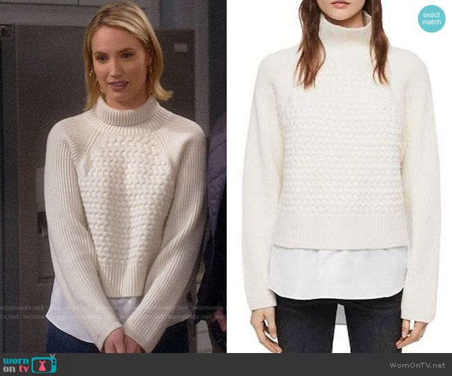 All Saints Jones Layered-Look Cable-Knit Sweater worn by Mandy Baxter (Molly McCook) on Last Man Standing