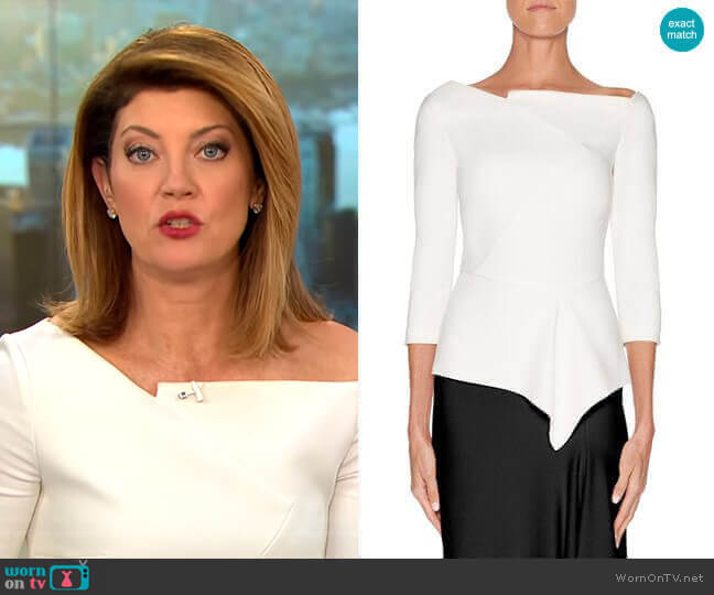 Almeley Top by Roland Mouret worn by Norah O'Donnell  on CBS This Morning