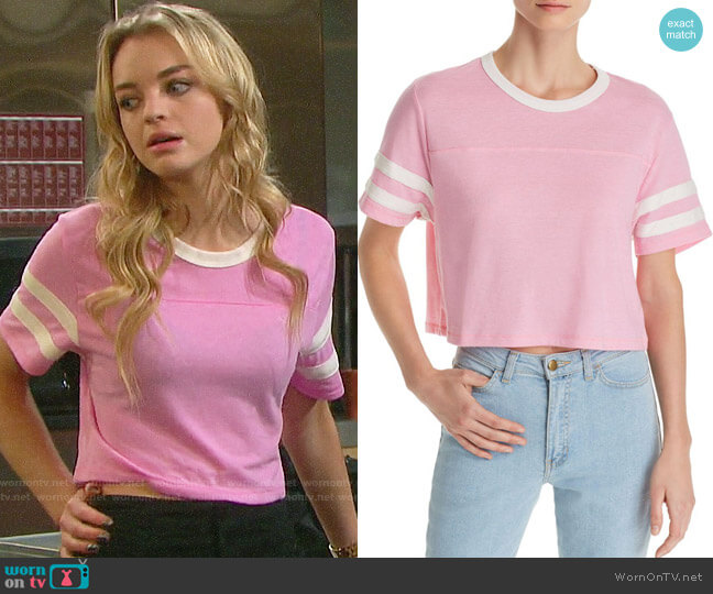 Alternative Apparel Striped-sleeve Cropped Tee worn by Claire Brady (Olivia Rose Keegan) on Days of our Lives