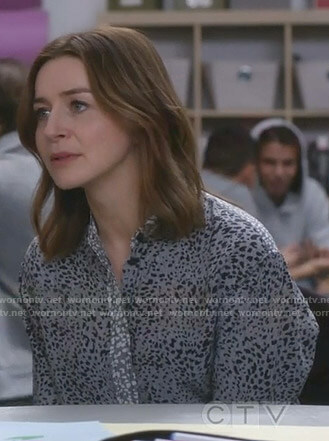 Amelia's grey leopard print shirt on Grey's Anatomy