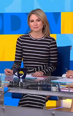 Amy's black striped belted dress on Good Morning America