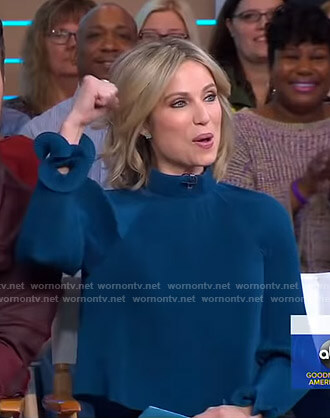 Amy's teal pleated mock neck top on Good Morning America