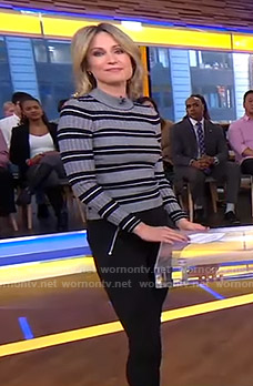 Amy's grey striped sweater and zipped pocket pants on Good Morning America