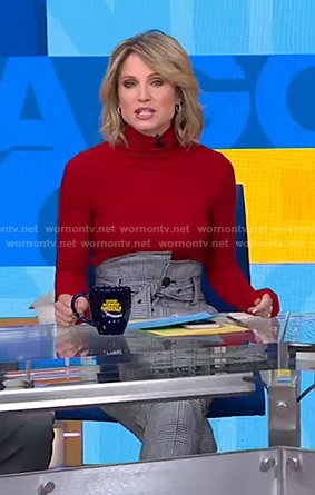 Amy's red sweater and houndstooth belted pants on Good Morning America