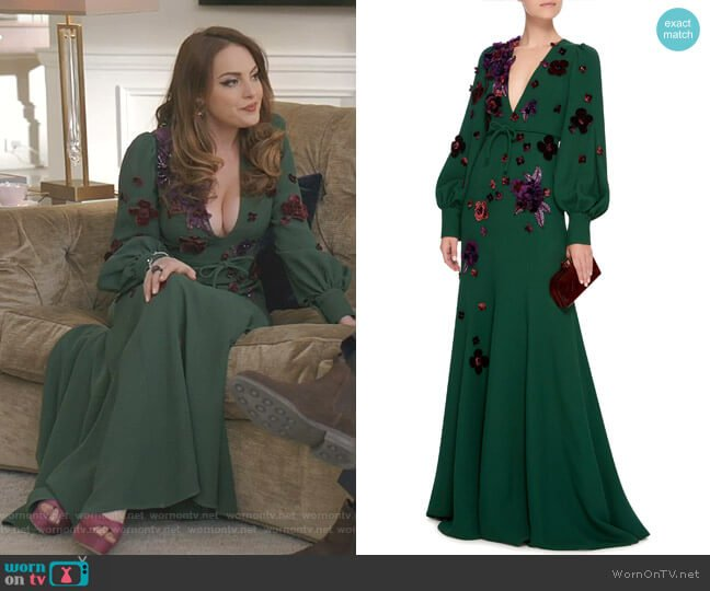 V-Neck Gown by Andrew GN worn by Fallon Carrington (Elizabeth Gillies) on Dynasty