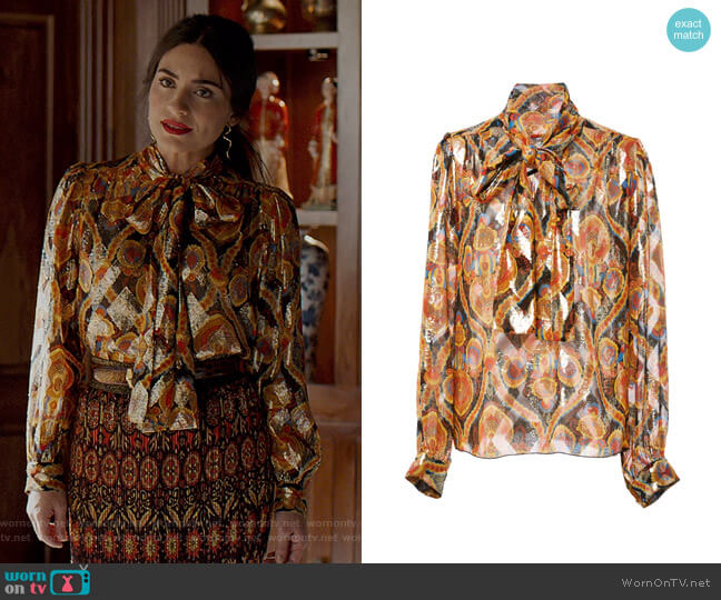 Arabesque Metallic Jacquard Top by Anna Sui worn by Cristal Jennings (Daniella Alonso) on Dynasty