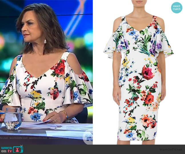 Botanica Cold Shoulder Dress by Anthea Crawford worn by Lisa Wilkinson (Lisa Wilkinson) on The Project