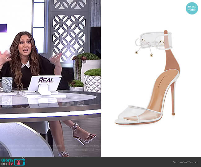 Optic PVC 105mm Sandal by Aquazzura  worn by Adrienne Houghton  on The Real